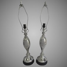 Pair of Atomic Aluminium Table Lamps
