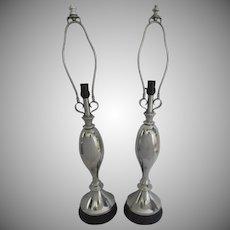 Pair of Atomic Aluminum Table Lamps
