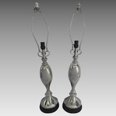 Pair of Atomic Aluminum Table Lamps
