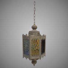 Vintage c 1963 Lightcraft of California Moroccan Gothic Revival Hanging Lantern