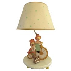 Vintage 1975 Nursery Originals Inc Animated Lamp Boy Girl and Dog