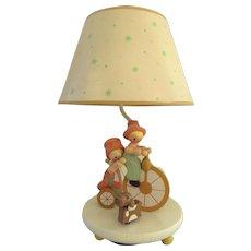 Vintage 1975 Nursery Originals Inc Animated Lamp Boy Girl and Dog