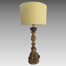 19th Century Carved Wood Pricket Stick Lamp Weathered Wood