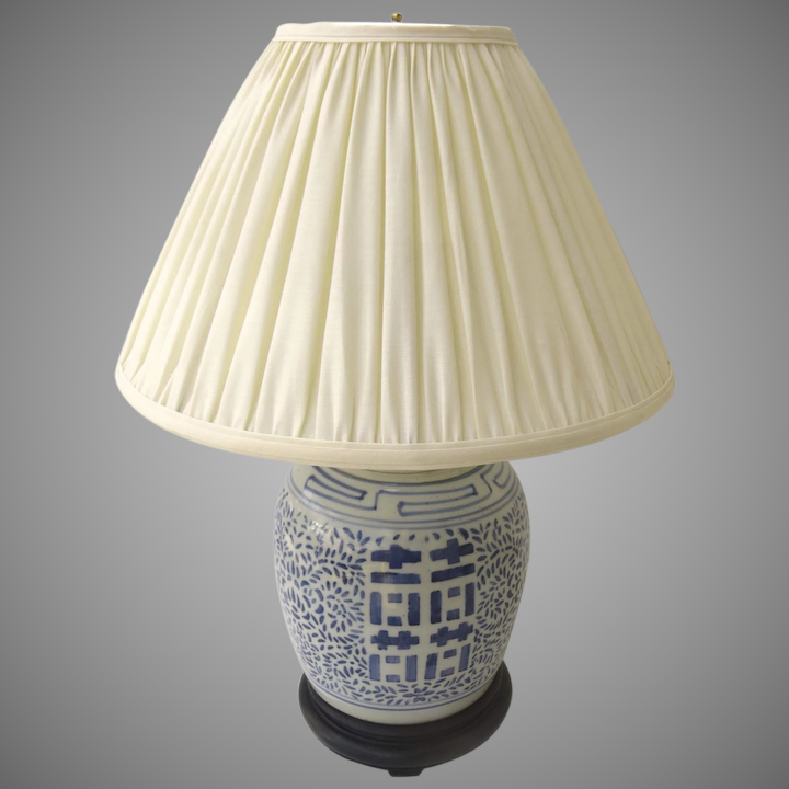 Late 19th Century Double Happiness Ginger Jar Lamp Blue White