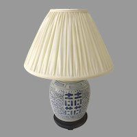 Late 19th Century Double Happiness Ginger Jar Lamp Blue & White