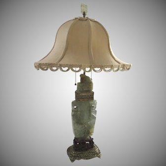 Vintage Carved Fluorite (Jade) Chinese Vase Lamp Foo Dog Lion