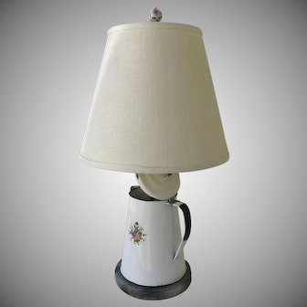 Lamp Made from Vintage Enamel Ware Coffee Pot Country