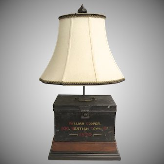 Tole Document Safe Box c 1870 now Mounted as a Lamp