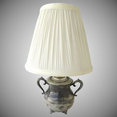 Small Vintage Silver Plated Sugar Mounted as a Lamp