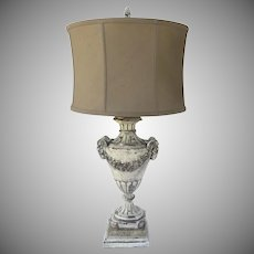 Vintage Urn Shaped Table Lamp Rams Heads by John Richards Distressed Paint