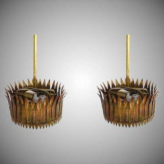 Pair of European Pendant Light Fixture Gilt Tole Crown Shaped