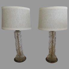 Pair of Vintage Clear Glass Column Lamps Vine Motif
