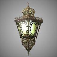 Moroccan Vintage Moorish Pierce Brass Hanging Lantern Pendant Light
