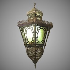 Moroccan Vintage Moorish Pierce Brass Hanging Lantern Pendant Light