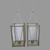 Pair of Vintage Large Hanging Lantern