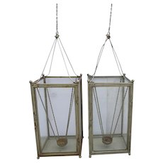 Pair of Vintage Large Hanging Lantern