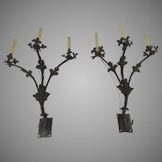 Pair of Renaissance Revival Iron Three Arm Wall Sconces Flower  Motif