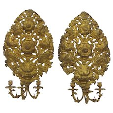 19th Century Italian Gilt Repoussé Wall Sconces Sunflower Motif Three Arm Candelabra