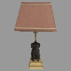 Adorable Vintage Small Poodle Dog Lamp on Poufs