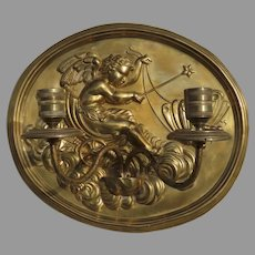 English Brass Repousse Sconce Cherub Butterfly with Chariot Registry Mark Oval Candle Holder
