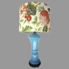 French Blue Opaline Lamp