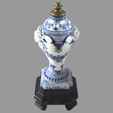 Large Late 19 or Early 20th Century Porcelain Blue and White Lidded Urn Jar Mounted as a Lamp Pan
