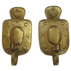 Vintage Pair Handmade Wall Candle Sconces Made in Sweden Heart Motif
