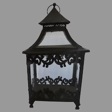 Late 19th Early 20th French Metal Painted Footed Rectangular Lantern