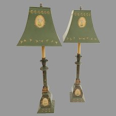 Pair Vintage Worlds Away (Hand Painted Metal Furniture Manufacturers) Tole Painted Lamps
