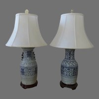 Two (2) Large Chinese Blue & White Baluster Shape Lamps