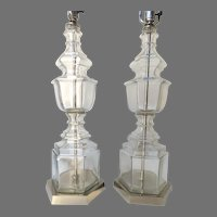 Pair of Vintage Silhouette Urn glass Lamps