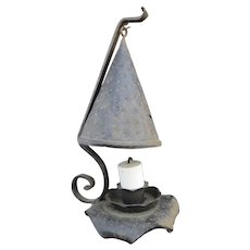Vintage Iron Arts & Crafts Lantern Peaked Shade