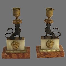 Pair of Greek Revival Sphinx Candlesticks on Marble Base