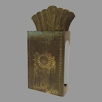 Vintage Brass Repousse Small Wall Candle Sconce Made in Sweden