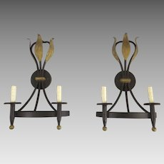 Pair of Vintage Metal Gilt Leaf Two Arm Wall Sconces by Luminaire