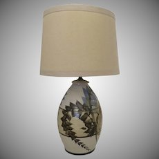 Pottery Lamp Vintage c 1980 by Ted West Blues Tans