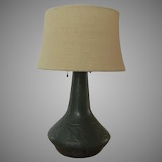Weller Bedford Matt Green Fruit Lamp Base Weller Pottery Co. Zanesville, Ohio