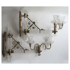 Pair Oster Esthetic Movement Two Arm Wall Sconces