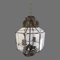 Vintage Mexican Tin Lantern With Glass Panels