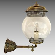 Early Brass Gas Wall Lantern