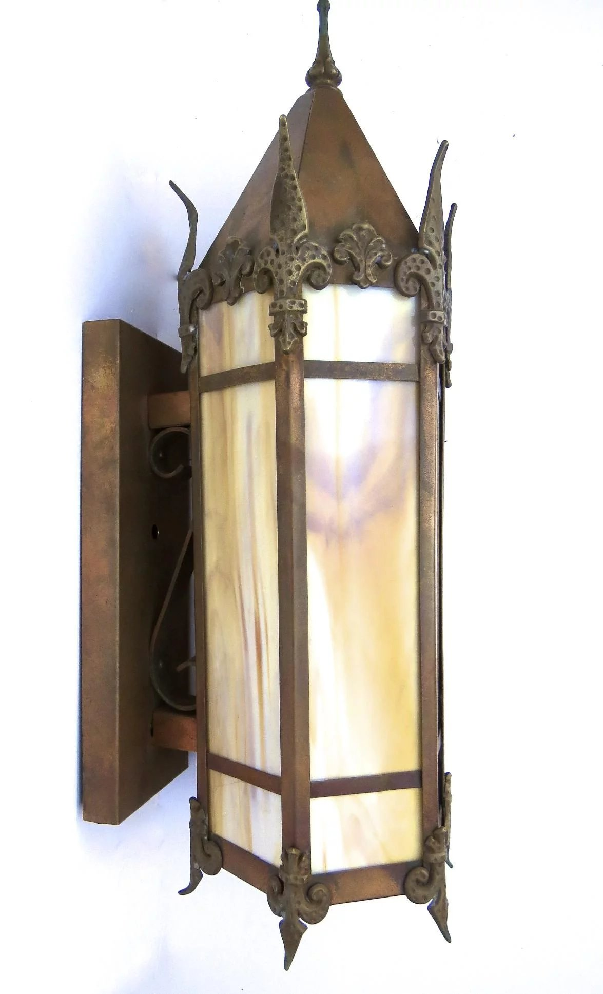 Copper Gothic Wall Sconce Peaked Top Black Tulip Antiques Ltd Ruby Lane