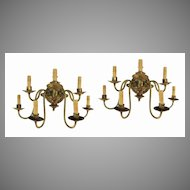Pair of Gas Seven Arm Wall Sconces