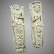 Carved Stone Man and Woman Caryatides