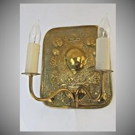 Beautiful Flora Motif Repousse Two Arm Sconce