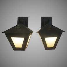 Pair of Iron and Glass Panels Arts and Crafts Sconces Lanterns Porch Entrance
