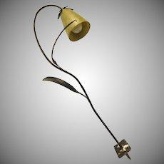 Mid Century Garden Path Light Iron Fiberglass Shade Bell Flower