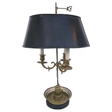 French Early 19th Century Bouillotte Lamp Tole Shade