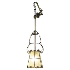 Art Nouveau Brass Hanging Lamp Lantern