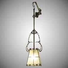 Art Nouveau Brass Hanging Lamp Lantern