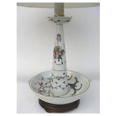Chinese Famille Rose Glazed Candlestick Now Mounted as a Lamp